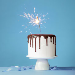 Cake with sparkler on top