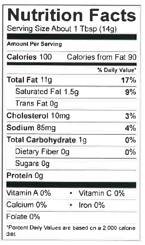 Nutrition Facts Whole Egg Mayo