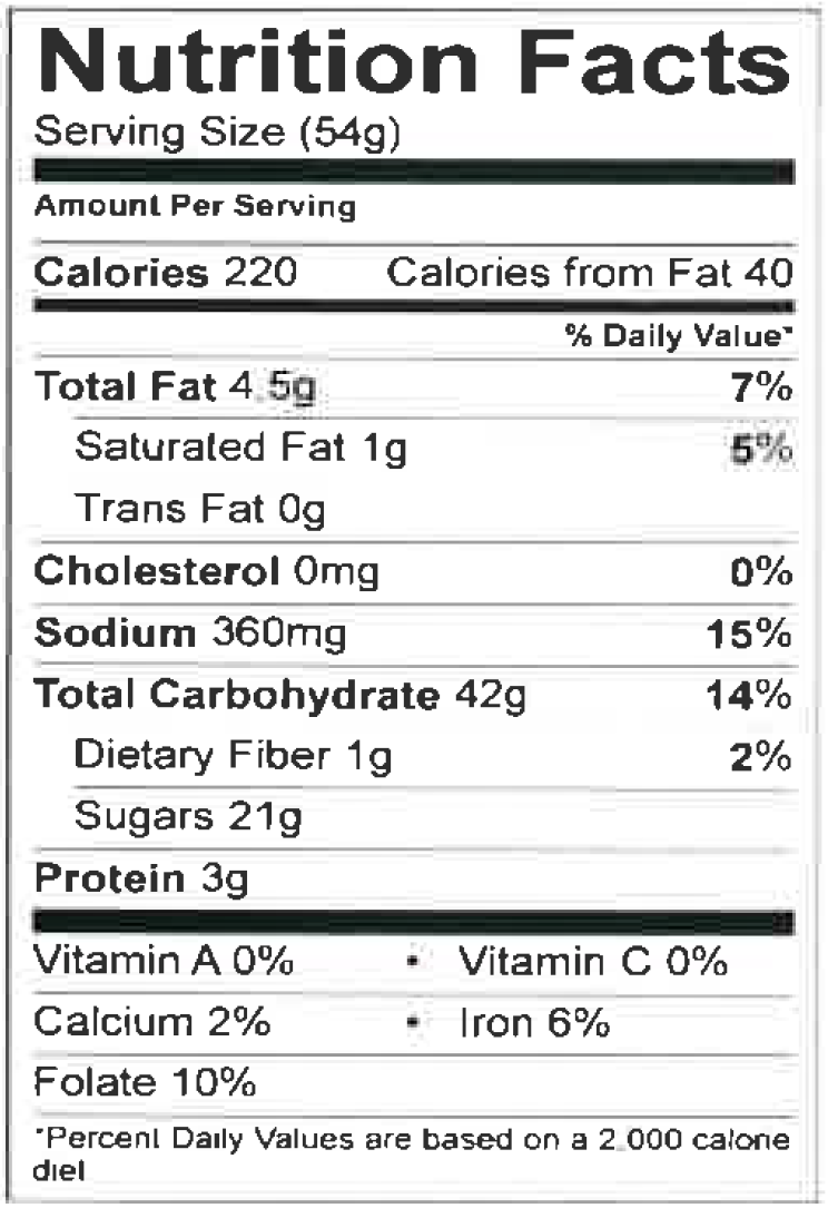 Nutrition Facts Cake Mixes