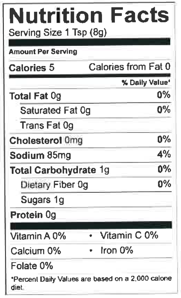 Nutrition Facts Worcestershire Sauce